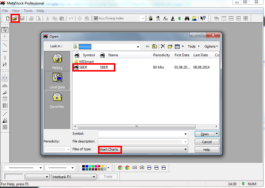 Экспорт данных в программу технического анализа Метасток (MetaStock Professional)